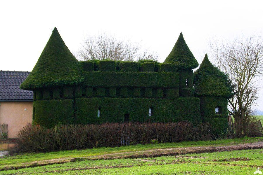 Le chateau d'Ecques, taillé dans une haie.