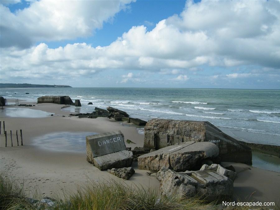 Les bunkers de la plage de Wissant, aujourd'hui démantelés