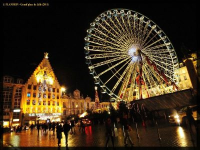 Photo-image grande roue de Lille et siège de la voix du Nord