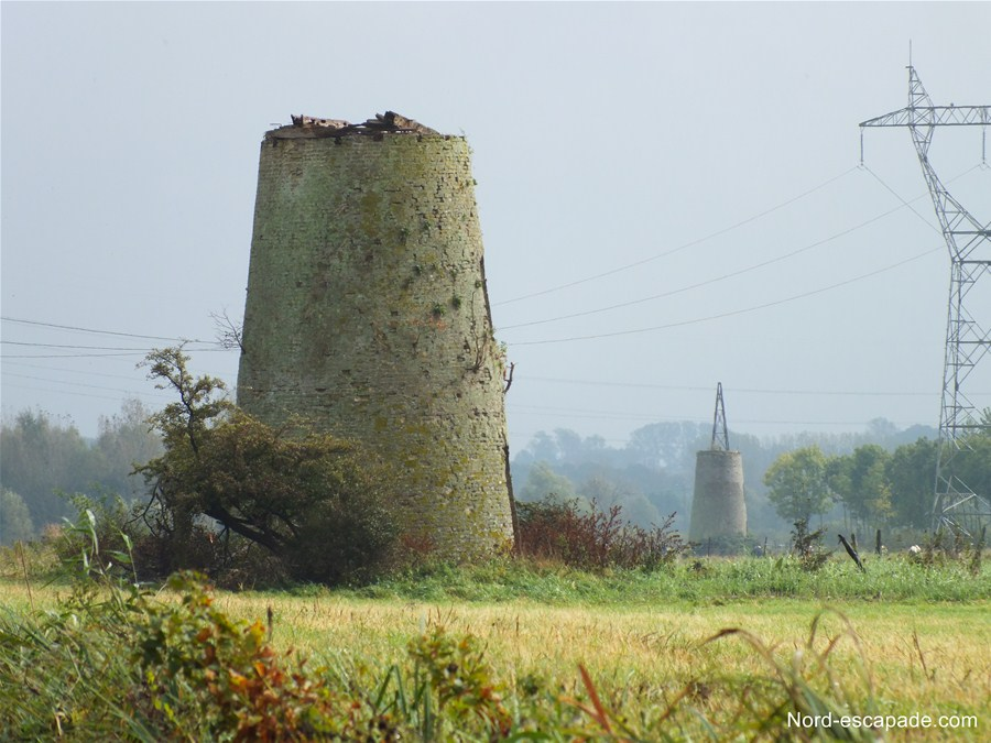 Succession de moulins, dans le marais audomarois