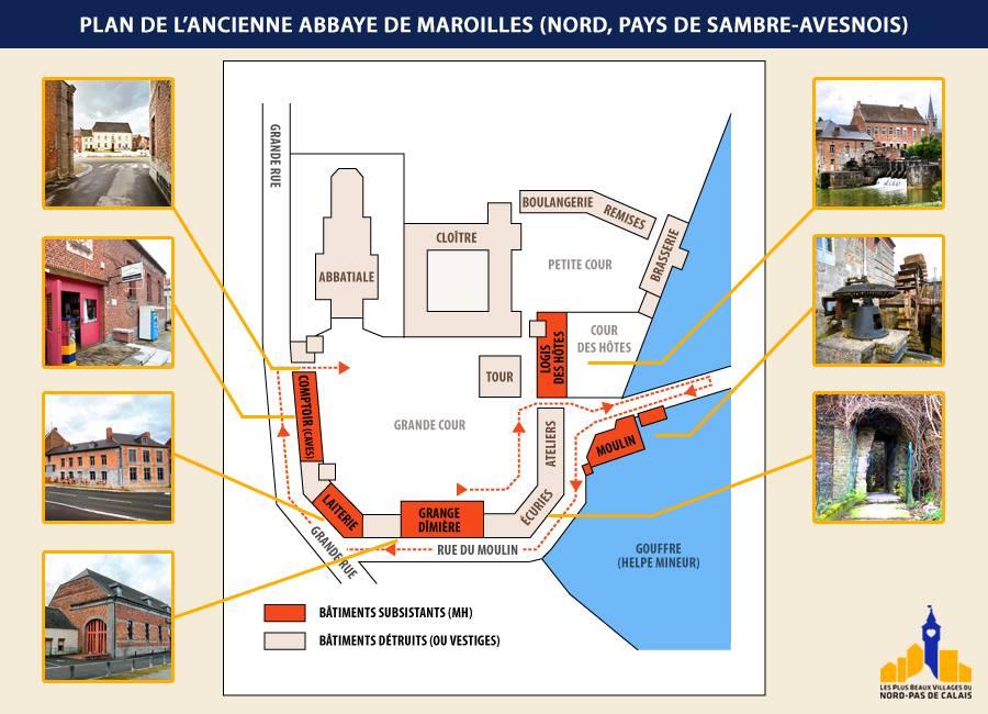 Plan de l'ancienne abbaye de Maroilles (source: Les plus Beaux villages des Hauts de France)