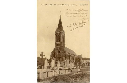 Carte postake de l'église de St Martin au Laert