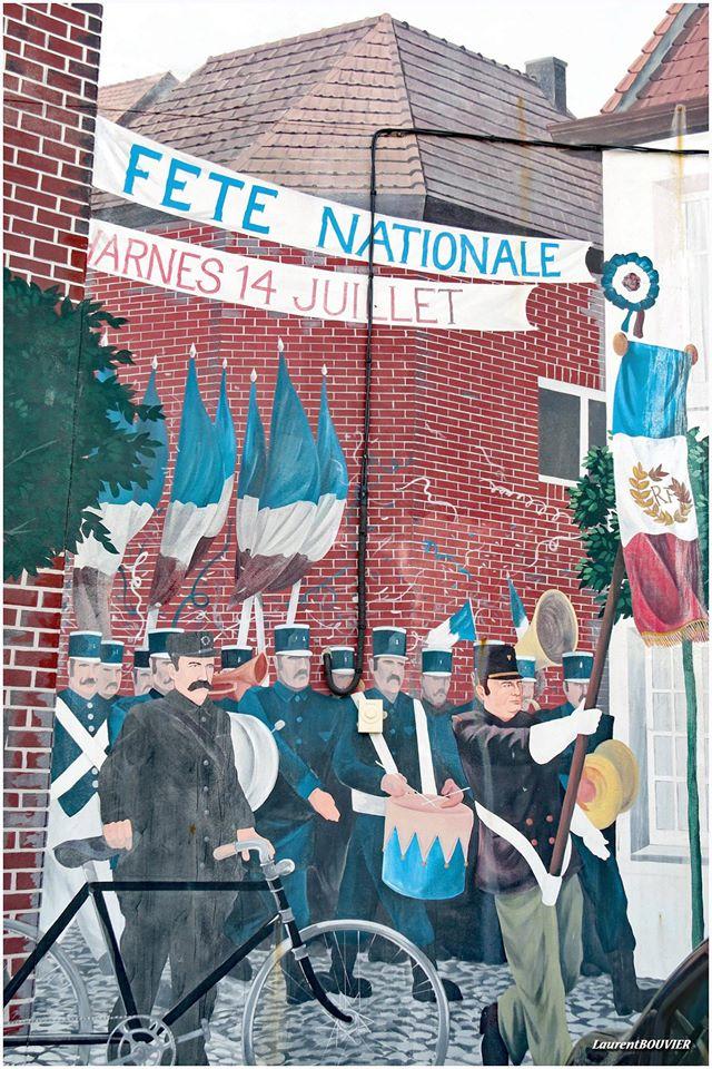 Les fresques de Harnes représentant une scène de fête nationale